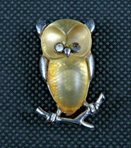 "Park Lane Beautiful Yellow Perched Owl Brooch with Rhinestones 1 1/2"" - $14.99"