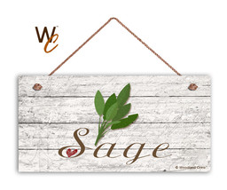 "Sage Sign, Rustic Style Garden Sign,  5"" x 10"" Wood Herb Kitchen Sign - $11.39"