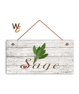 """Sage Sign, Rustic Style Garden Sign,  5"""" x 10"""" Wood Herb Kitchen Sign - $12.87"""