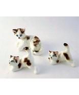 Miniature Vintage Glass Cat Kitten Figurine Set, Blue Eyed White Mom and... - $28.00