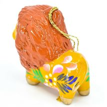 Handcrafted Painted Ceramic Brown Orange Lion Confetti Ornament Made in Peru image 3