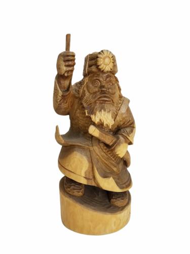 "Vintage 12"" Wood Hand Carved Signed Asian Figurine Statue Figure Carving"
