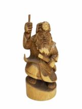 "Vintage 12"" Wood Hand Carved Signed Asian Figurine Statue Figure Carving image 1"