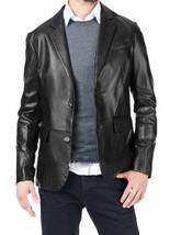 New Men's Genuine Lambskin Real Leather Blazer Jacket TWO BUTTON Slim fit Coat - $109.99