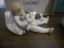 Lladro-Sweet Dreams-#1535-Boy and puppies asleep-Private Collection Mint... - $140.25