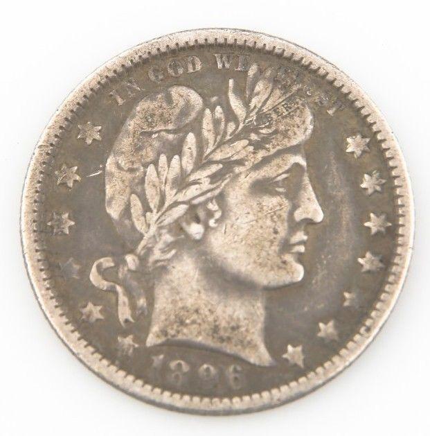 1896-O 25¢ Barber Quarter, Strong VF Condtion, Medium Toning, Tough Date! - $335.61
