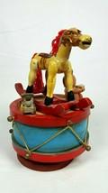 Vintage Toy Land Rocking Horse Revolving Drum Music Box Plays Toyland Ch... - $12.86