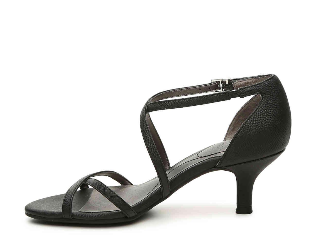 LifeStride Flaunt Ankle Strap Sandal Black Precious Size 7.5 M