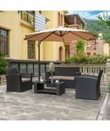 4PC Patio Outdoor Wicker Rattan Conversation Furniture Sofa Set Garden T... - $459.97