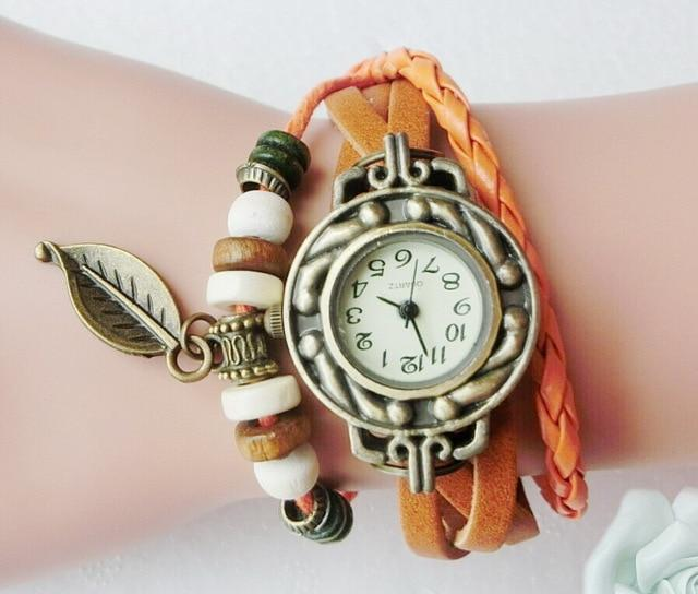Multicolor High Quality Women Genuine Leather Vintage Quartz Dress Watch Bracele