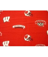 UNIVERSITY OF WISCONSIN BADGERS red COTTON FABRIC 1/4 YARD Mask FREE SHI... - $20.99