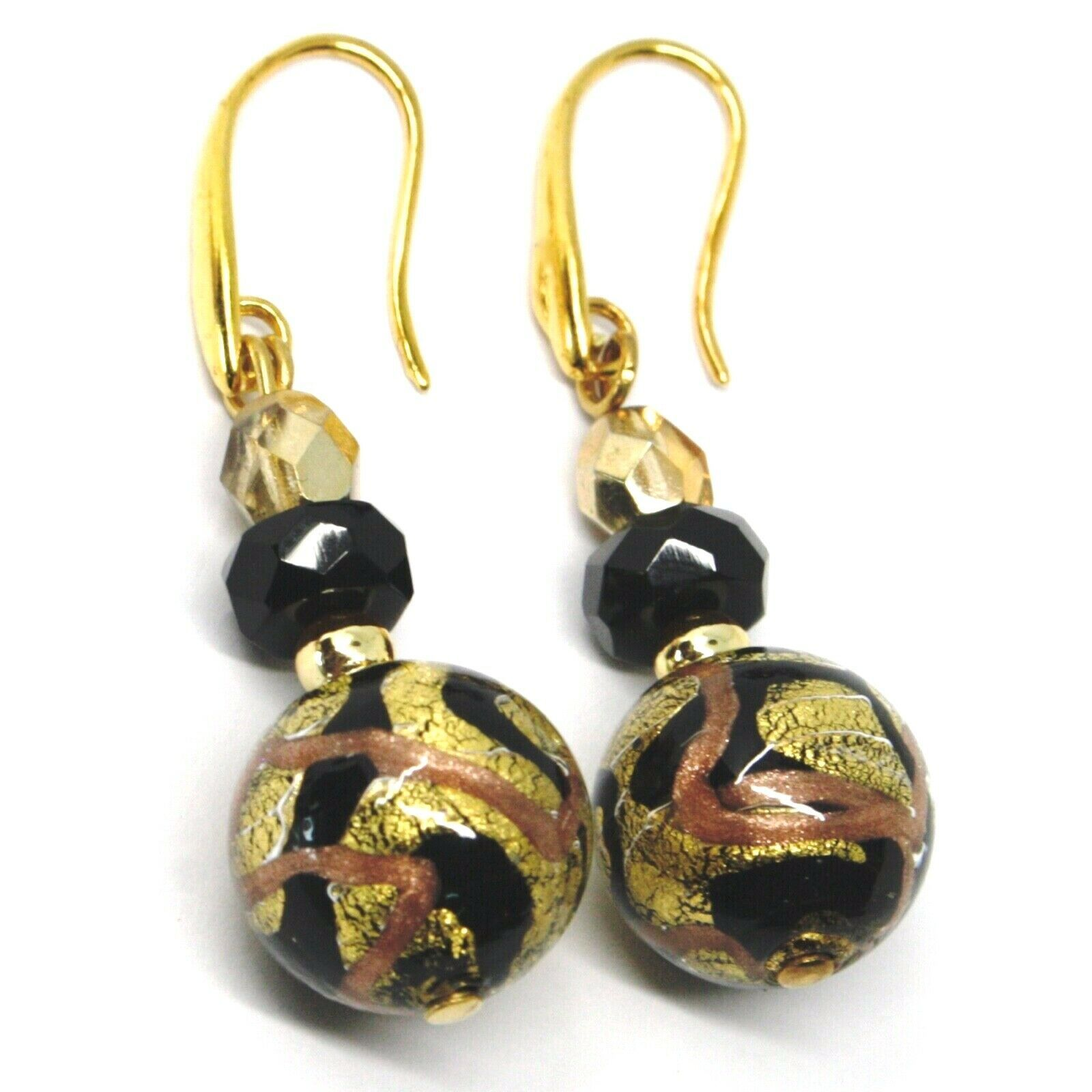 PENDANT EARRINGS BLACK STRIPED MURANO GLASS SPHERE & GOLD LEAF, MADE IN ITALY