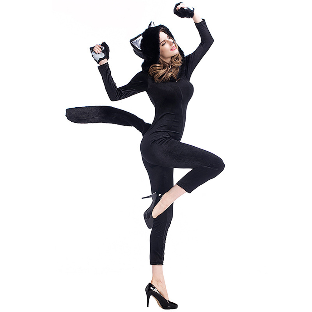 Catwoman Jumpsuit Furry Costume Halloween Cosplay Party Fancy Dress