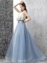 Dusty Blue Floor Length Tulle Skirt High Waisted Dusty Blue Bridesmaid Outfit image 8