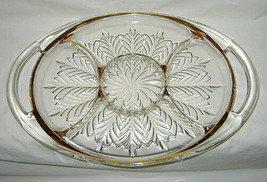 Jeannette Glass Feather Gold Pattern 5-Part Handled Relish Platter - $24.70