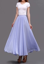 Lavender Purple Chiffon Skirt Women Chiffon Long Skirt Wedding Bridesmaid Skirts image 5