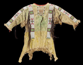 Men New Native American Buckskin Beige Buffalo Suede Bead Powwow War Shi... - $299.00