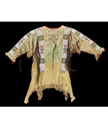 Men New Native American Buckskin Beige Buffalo Suede Bead Powwow War Shi... - $299.00