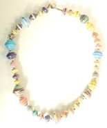 31 Bits necklace artisan handmade africa recycled paper beads multi colo... - $19.79