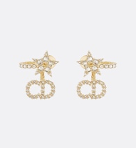 Authentic Christian Dior 2019 CLAIR D LUNE EARRINGS CD Logo Crystal Star
