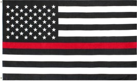 Thin Red Line US Flag 3' x 5' American Support Firefighters Fire Dept Su... - $10.99