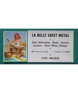 PIN-UP Girl Picnic Ketchup Spill & AD La Belle Sheet Metal - 1960s INK B... - $6.35