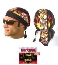 4-SCREAMING FLAMES Multi SKULL FITTED BANDANA w/TIES DOO DO DU RAG Head ... - $26.48