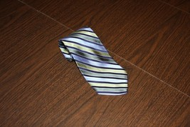 Men Men's Neck Tie Blue Green Striped Silk Club Room by Charter Club - $7.84