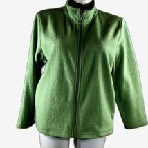 Appleseeds womens size XL green Fleece zip up jacket floral embroidery m... - $15.83
