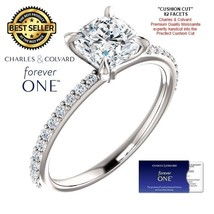 1.50 Carat Forever One Cushion Moissanite Ring in 14K Gold (Charles&Colv... - $795.00