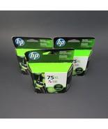 Genuine HP 75XL Tri Color Lot of 3 Ink Cartridges CB338WN Sealed Nov 2016 - $112.99