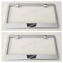 2X For Cadillac Crest Stainless Steel License Plate Frame Rust Free - $24.74