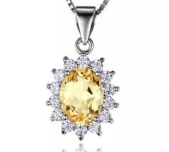 925 Sterling Silver Princess Citrine Princess Diana Pendant Necklace [PE... - $23.76