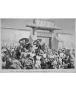 JAPAN Austria Diplomat Count Hubner Visits Mikado Palace  - 1882 Wood En... - $21.60