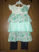 Calvin Klein Little Girls Tiered RuffleTop&Leggings, Sz.5(US)NWT, 100% A... - $21.77