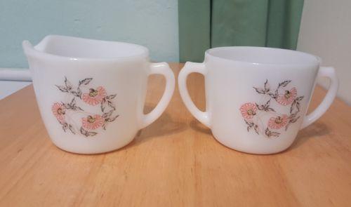 Fire King Milk Glass Creamer & Sugar Bowl Fleurette1950s White Pink Daisy no lid - $14.93
