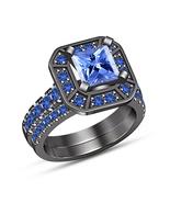 Blue Princess Cut Sapphire Engagement Wedding Bridal Ring Set Solid 925 ... - $106.85