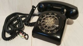 Vintage 1960's Rotary Dial Phone ITT Black Telephone Hardwired Extra Lon... - $29.39