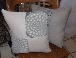 Pair of Beige Gray Abstract Flower Print Throw Pillows  16 x 16 - $49.95