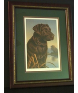 Chocolate Labrador Framed Ltd Ed Print Pencil Signed By Ronald J Louque 1994   - $15.00