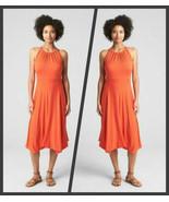 Gap Dark Orange Sleeveless Halter Neck Handkerchief Dress Size - Extra L... - $59.95