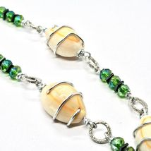 Necklace the Aluminium Long 48 Inch with Seashells Hematite and Crystals Strass image 6