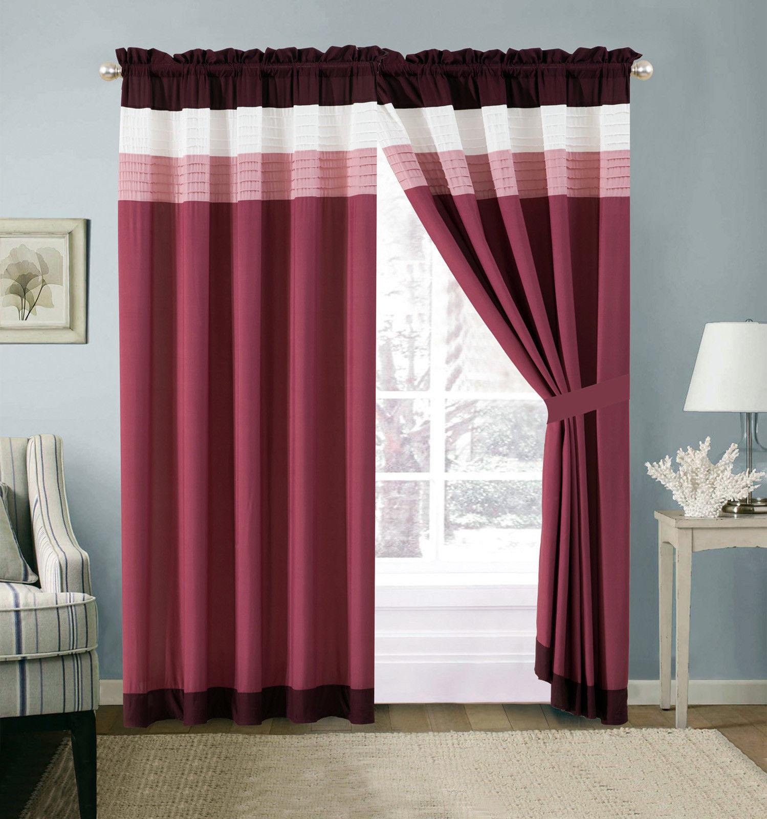 Primary image for 4-Pc Quinn Pleated Stripe Curtain Set Pink Purple Plum White Sheer Liner Drape