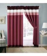 4-Pc Quinn Pleated Stripe Curtain Set Pink Purple Plum White Sheer Liner... - $40.89