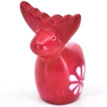 Hand Carved Kisii Soapstone Red Floral Holiday Reindeer Figurine Made in Kenya image 2