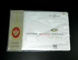 New Vintage 1 Flat Twin CANNON Royal Family White Bed Sheet NOS Percale ... - $19.75