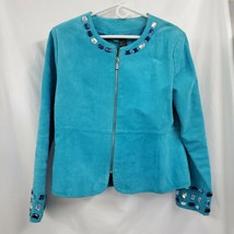 Karen Arnold Suede Leather Zip Beaded Turquoise Moto Jacket Sz LG EUC 1216 - $38.65