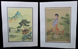 Pair of Asian Silk Screen Paintings Stilted Pagoda in Water & Pretty Gei... - $24.19