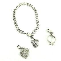 Disney Mickey Mouse Charm Bracelet Silvertone Pave Crystals - $19.50