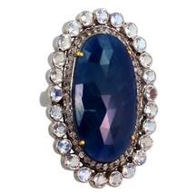 Piedra Preciosa Zafiro Ovalado Piedra Luna Pavé de Diamante 14 - $475.59